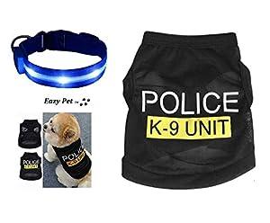 Dog Police K9 Unit 999 Déguisement de Policier pour Chien avec Gilet et lumières Bleues Clignotantes Taille M