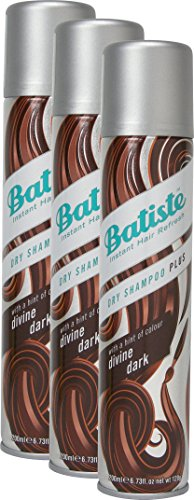 Batiste dry shampoo divine dark with a gentle hint of colour, for black and dark brown hair, fresh hair for all hair types, 3-pack 2+1 (3 x 200 ml)
