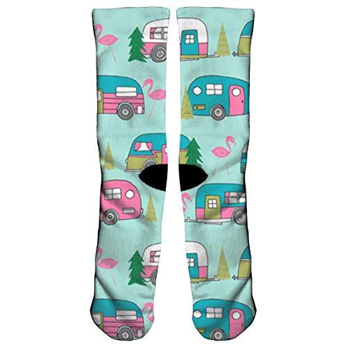 Weihnachten Camper Flamingo Auto Baum Muster Sport Sport Socken, Reisen & Flug Socken, Malerei Kunst gedruckt lustige Socken. -