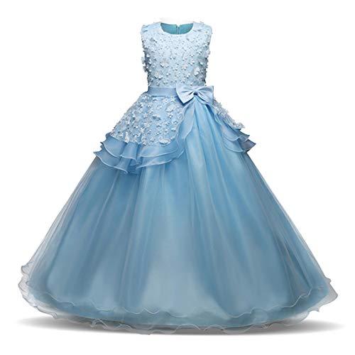 SJHO Children's Flower Kollektion Abendkleid - Hochzeitskleid Ärmellos Rundhalsausschnitt -...