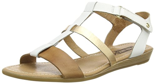 Pikolinos Alcudia 816_v16, Sandales Bout Ouvert Femme Multicolore (White/Gold)