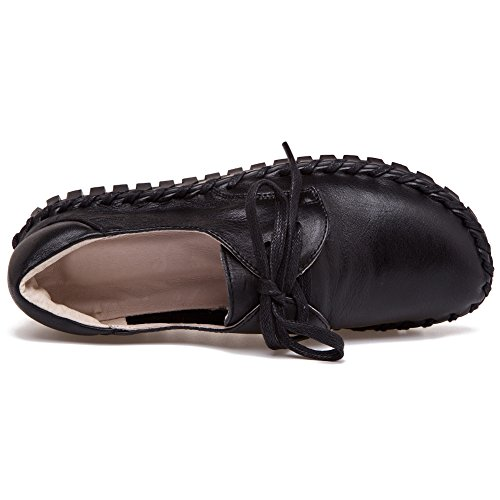 Shenn Damen Arbeit Platz Komfort Beiläufig Oben Qualität Leder Mode Sneaker Schwarz