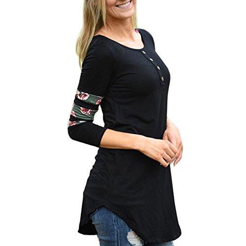 Yalatan Femmes Chemises Patchwork Décontracté Floral Manches Longues Boutons Blouse Tunique Tops Noir