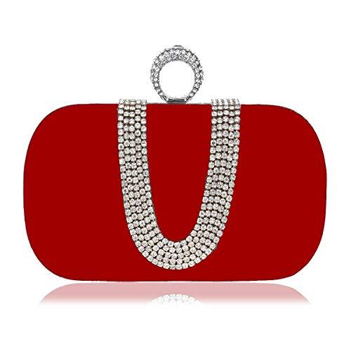 TYYY Damen Satin Spitze Creme Navy rot schwarz Spitze Satin Abend Handtasche Hochzeit Mode Prom Braut Handtasche (Color : Red) -
