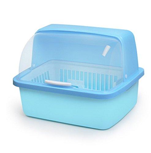 GWM Escurreplatos de Cocina con Tapa, Recipiente de Drenaje de Platos de plástico con Bandeja de Goteo, Caja de Almacenamiento de vajilla, a Prueba de Polvo, Metal, Azul, Large