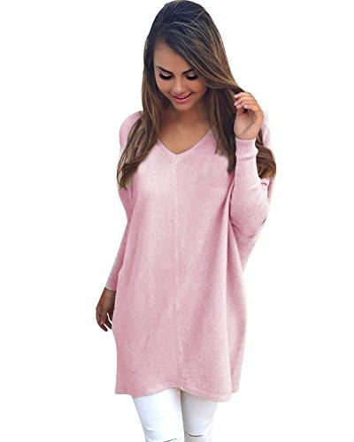 Minetom Damen V-Ausschnitt Pullover Langarm Dünne Lose Jumper Sweatshirt Strickwaren Oversize Tops Pink DE 36 (V-ausschnitt Mit Kabel-langarm-pullover)