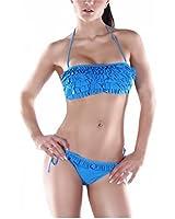 Aidonger Damen Sexy Fraun Push-up Hot Bandeau Bikini-sets mit süßem Rüschen-Besatz Bademode Badeanzug
