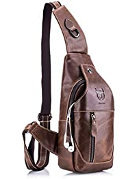 7a702a498c29 WeeDee Men s Sling Bag Leather Chest Shoulder Backpack Anti-Theft Cross  Body Pack Vintage Water