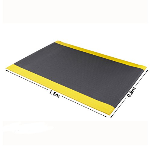 Anti-Fatigue Safety Mat Orthomat Door Mat Black With Yellow Edges Indoor Flooring (0.9 x 1.5m (Pebbled Surface))