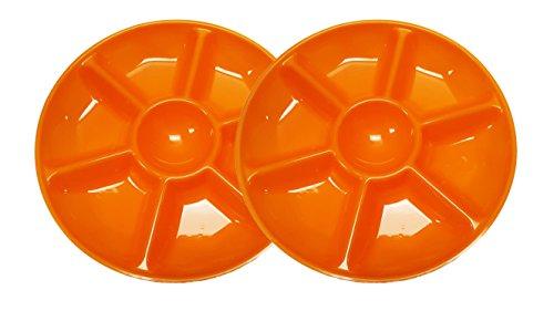 2Grün SCHWARZ Duck Chip N Dip Hard Kunststoff, rund, 35,5cm 7-section Serviertabletts. Orange 2pk Snack Tray Set