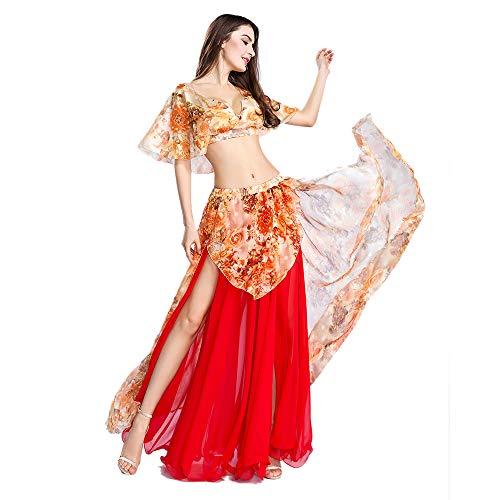 ROYAL SMEELA Bauchtanz Top Rock Sexy Tanzanzug Performance-Kleider Blumen Chiffon Tanzen Tops Röcke Kostüm Outfit Set für ()