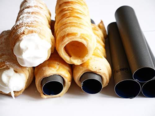 Eco Haus Living Cannoli Backform 4 Stück - 11 cm Teigrollchen Antihaftbeschichtung - Rund TEFLON Form zum Backen - Einfaches Waschen - ideal für süß und salzig oder kleine Kuchen und Vorspeisen Backen Form