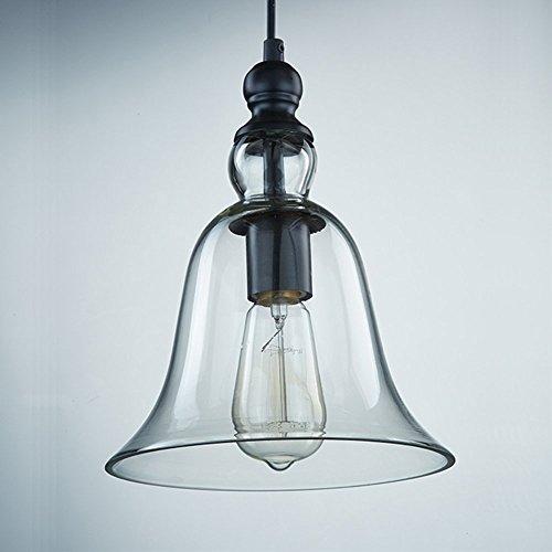 hahaemall intérieur vintage Mini pendentif en verre transparent clair Bell Abat-jour (Ampoules non incluses)