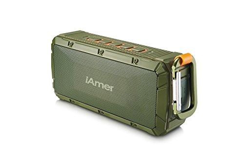 Wasserdicht Bluetooth Lautsprecher, iAmer 10W IPX6 Wireless Tragbare Lautspreche hifi für Outdoor Sports -- 2 x 5W Driver-Enhanced Bass, Bluetooth 4.0 / Integriertes Mikrofon / Freisprecheinrichtung (Armee-Grün)