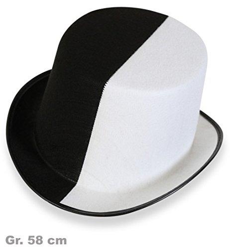 Zylinder Hut schwarz/weiss black&white Gr. 58 cm Erwachsene (Motto Kostüme Black White Party And)