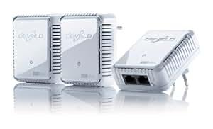 devolo dLAN 500 duo Network Kit Powerline 3x PowerLAN-Adapter, 500 Mbit/s, Internet aus der Steckdose, 2 integrierte LAN Ports