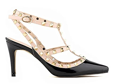 Minetom Fête Party Été Boucle Chaussures Rivet Épissure Stiletto Pumps High Heels Talons Hauts Femme Escarpins Pointed Toe Casual Filles Noir EU 34