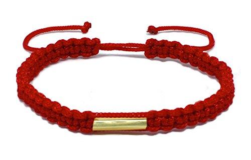 Pulsera tailandesa hecha a mano con latón, budismo, amuleto bendecido, buena suerte y buen karma, ideal como regalo para amigos, amantes del yoga, color rojo