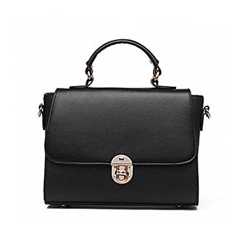 DFUCF Damen PU Mode Lässig Büro Beruf Umhängetasche Kuriertasche Schiefer Tasche Handtasche Aktenkoffer Langlebig Black