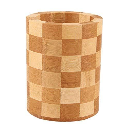 WopenJucy - Escurridor de cubiertos redondo de madera para utensilios de cocina, soporte para cucharas, tenedores, accesorios de cocina, organizador de cubiertos
