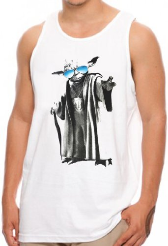 OM3® - YODA-GURU-COOL - Tank Top Jedi Ritter Turntables Music Rave House Indie Trance Techno Geek, M, Weiß