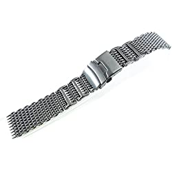 JRRS7777 24mm Stainless Steel Mesh Bracelet Watch Band Titanium 1224WHIPT