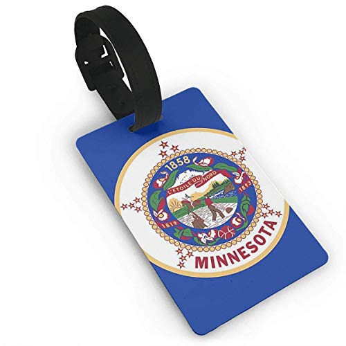 Minnesota Nylon State Flag Initial Luggage Tag with Full Privacy Cover -