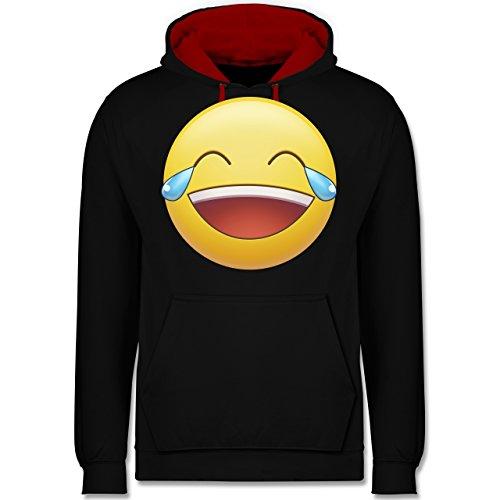 Statement Shirts - Tränen Lachen Emoji - Kontrast Hoodie Schwarz/Rot