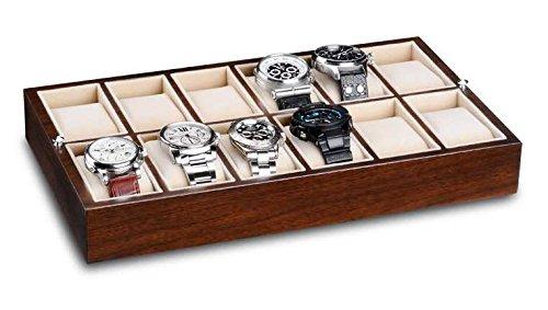 Ferocase-Schubladen-Organizer-Display-fr-12-Uhren-oder-Schmuck-35-x-20-cm-walnussdekor