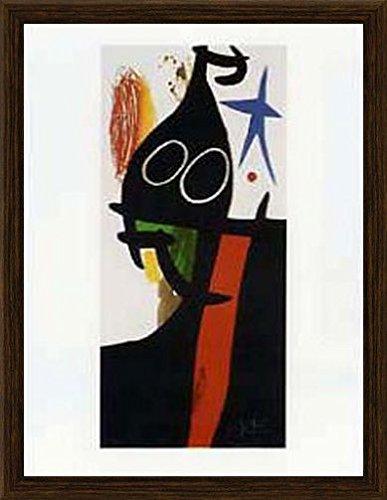 Joan Miró Poster Kunstdruck und MDF-Rahmen Holzoptik Gemasert - Der Sarazene Mit Dem Blauen Stern (80 x 60cm)