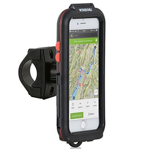 Wicked Chili Tour Case für Apple iPhone 8 / 7 / 6S / 6 - Outdoor Fahrradhalterung Bike Navigation mit Apple Touch ID Funktion (Spritzwasserschutz IPx5, Ladekabelanschluss, Kopfhörerbuchse) schwarz