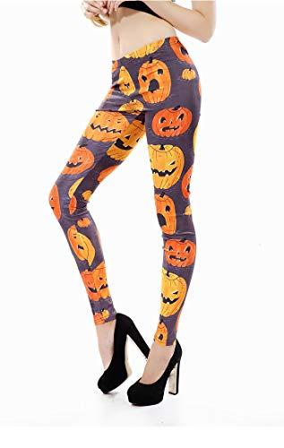 MAOYYMYJK Yoga-Hose Für Damen Halloween-Kostüme, Horrorkürbiskopfabdrücke, Gamaschen, Außerhalb Der Straße