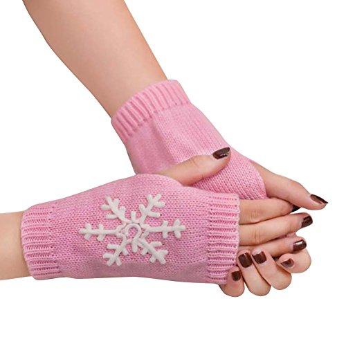 ALCYONEUS Schneeflocke Handschuhe Soft Winter Knitted Half Christmas Stickerei Schneeflocken Fingerless Handschuhe Für Lady (Pink) Pink Womens Handschuh
