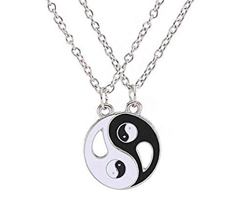 Stellen Sie Sich Ihr Verhältnis mit der chinesischen Magie von Yin und Yang mit Dieser Halskette Puzzle Unisex (Herren und Damen) von 2 Stück