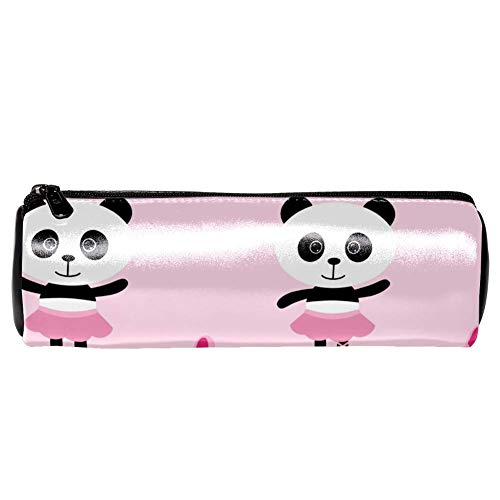 EZIOLY Federmäppchen mit Ballerina-Panda-Motiv, Leder, Pink