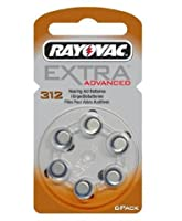 4 x Rayovac Type 312 Hearing Aid Batteries (6 Pack) + 1 Pack FREE!