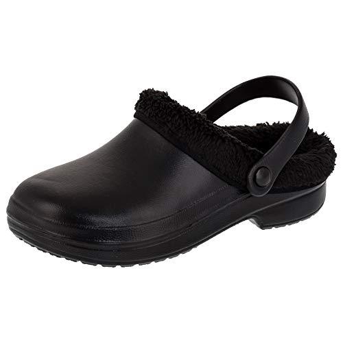 2Surf Gefütterte Damen Clogs Winter und Sommer Schuhe Hausschuhe mit herausnehmbarem, waschbarem Futter M487sw Schwarz 41 EU