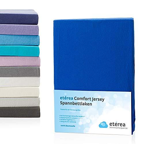 flanell spannbettlaken etérea Comfort Jersey Spannbettlaken - in viele Farben und alle Größen - 100% Baumwolle, Blau 140x200 - 160x200 cm