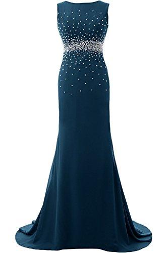 Sunvary Elegant Rund Mermaid Chiffon Lang Armlos Perlen Pailette 2016 Neu Abendkleider Mutterkleider Partykleid Inkblau