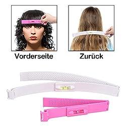 Haarschneide Hilfe Clip 2 PCS, Haare Selber Schneiden leicht | Sparen Zeit und Geld | DIY Ihr Eigener Frisur, Haar-Styling-Tools | Haarschneide Schere mit Lineal (Rosa & Weiß)