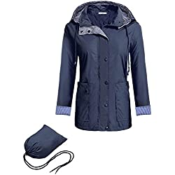 Meaneor Chaquetas Impermeables Mujer con Capucha Desmontable Mangas Largas Azul XXL
