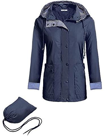 Meaneor Damen Leicht Jacke Regenjacke Laufjacke mit Kapuze Tasche Regenparka Funktionsjacke Wasserdicht Atmungsaktiv