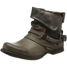 Elara Mujer Botines | Cómodo Biker Boots | Metallic Print Remaches | Chunky Ryan