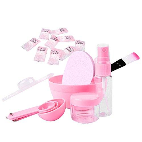 10 PCs DIY visage masque outil soin visage beauté mélange outils comprenant bol spatule pinceau Puff cuillère Spray bouteille rose