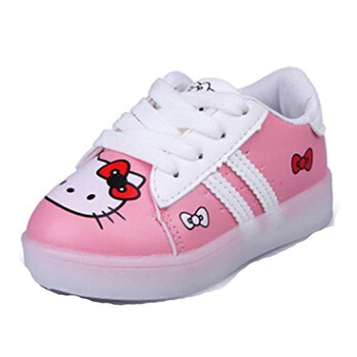 Ragazze Cartoon Sneakers Primavera e Autunno Cartone Animato LED Pelle Leggero Non Scivolare Traspirante Basso per Aiutare Le Scarpe da Ginnastica Baby