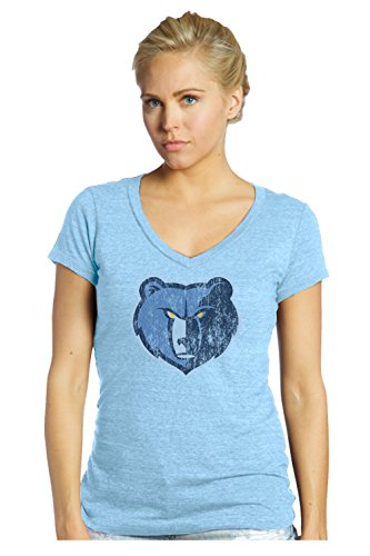 Majestic Athletic NBA Memphis Grizzlies Damen-T-Shirt mit V-Ausschnitt, Größe XL, Babyblau