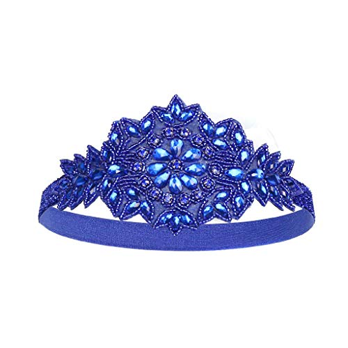TOPGKD Ins heißer Verkauf Flapper Great Gatsby Stirnband Pearl Charleston Party Braut Kopfschmuck Lady (Blau)