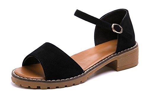 Sommer-Matte Studenten Sandalen Hang mit flachen Schuhen College Wind wilden Kopf Sandalen Fisch black (matte) af6wN