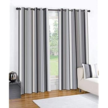 STRIPED BLACK CREAM GREY PAIR LINED EYELET RING TOP CURTAINS 66 Wide X 54