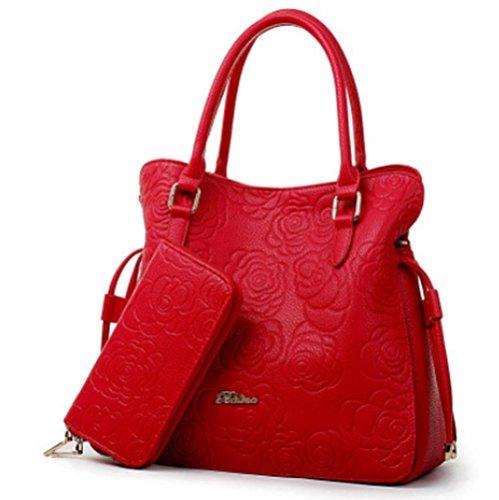GBT 2016 Neue Reißverschluss-Beutel-Rosen-Muster-Schulter-Beutel, Handtasche Red